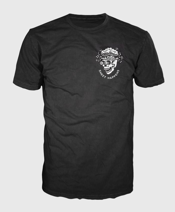 Sheet Happens - Exploding Skull - Black T-shirt