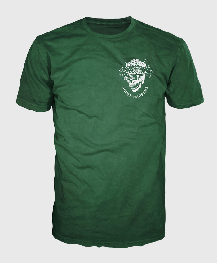 Sheet Happens - Exploding Skull - Green T-shirt