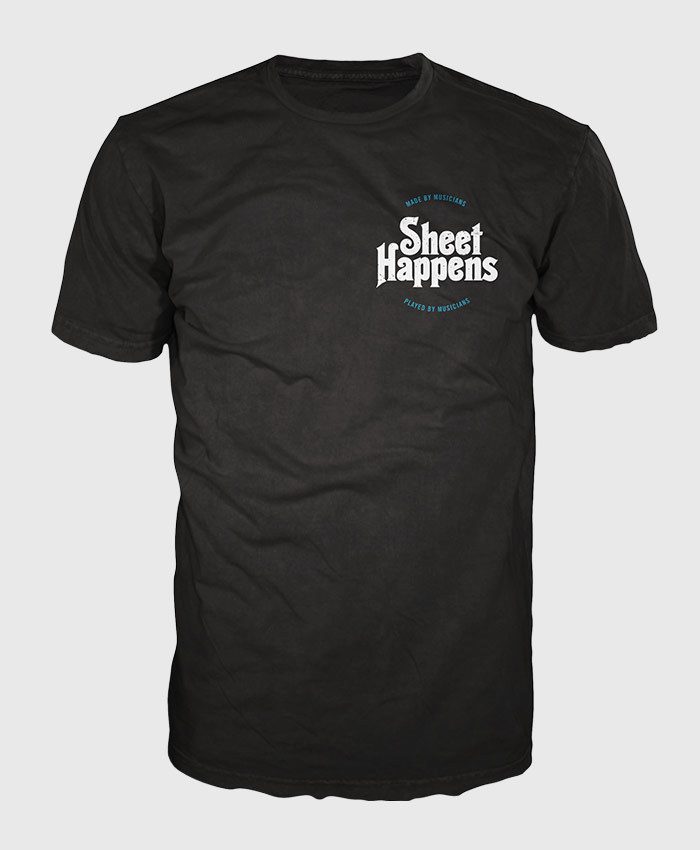 - Sheet Happens T-Shirt - Made by Musicians Crest Tee
